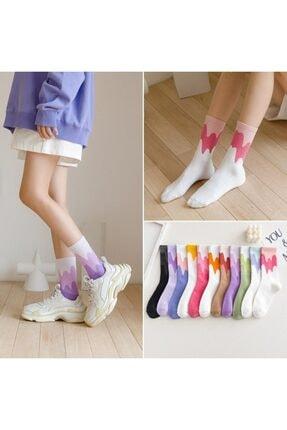çorapmanya Çok Renkli Zikzak Çizgili Pamuklu Kolej Tenis Çorap 12'li 1