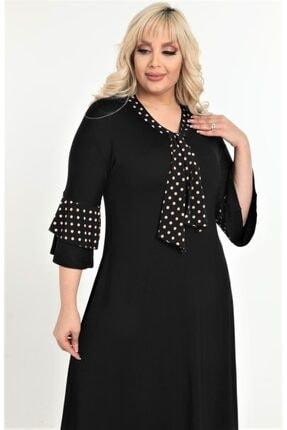 HERAXL Kadın Siyah Kravatlı Kahve Puantiye Detaylı Midi Elbise 2