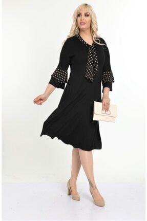 HERAXL Kadın Siyah Kravatlı Kahve Puantiye Detaylı Midi Elbise 3