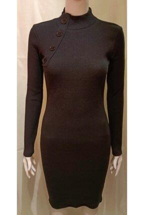 Kadın Siyah Renk Tek Tarafı Düğme Detaylı Diz Hizasında Elbise BK20204920