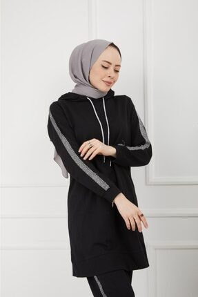 CNG MODA Kolu Şeritli Siyah Tesettür Eşofman Takımı 2