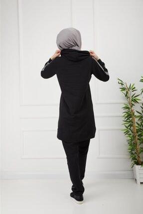 CNG MODA Kolu Şeritli Siyah Tesettür Eşofman Takımı 4