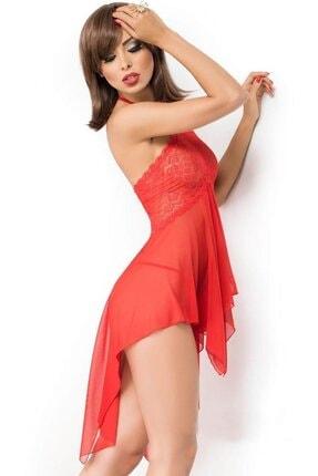 Kadın Kırmızı Dantel Detaylı Tül Fantezi Gecelik NKD1030215