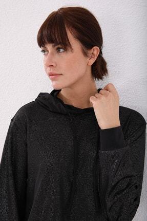 Tommy Life Siyah Gümüş Varak Kadın Kanguru Cep Büzgü Detaylı Rahat Form Kapüşonlu Sweatshirt 4