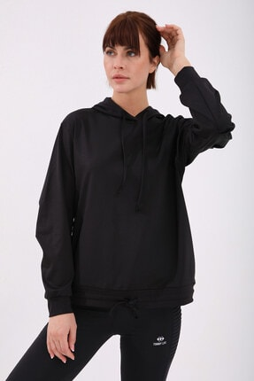 Tommy Life Kadın Siyah Varak Kanguru Cep Büzgü Detaylı Kapüşonlu Sweatshirt 0
