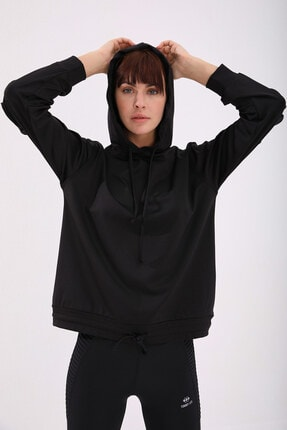 Tommy Life Kadın Siyah Varak Kanguru Cep Büzgü Detaylı Kapüşonlu Sweatshirt 4