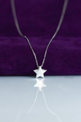 By Barun Silver Gümüş Rengi Yıldız  Gümüş Kolye 0