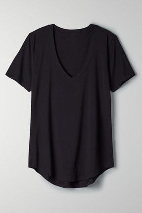 Soufeel Kadın Siyah V Yaka Oversize Classic Bluz Yuvarlak Detay Kısa Kol Tişört 3