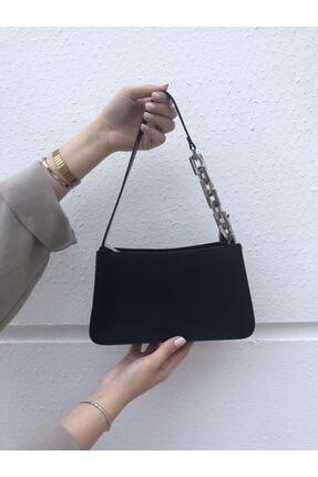 Bobigo Kadın Siyah Zincir Detaylı Baget Çanta 2