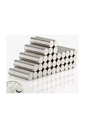 Dünya Magnet 100 Adet Çap 8mm X Kalınlık 1mm Yuvarlak Süper Güçlü Neodyum Mıknatıs 2