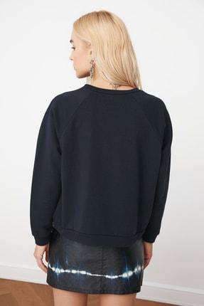 TRENDYOLMİLLA Lacivert Basic Örme Sweatshirt TWOAW20SW0055 4
