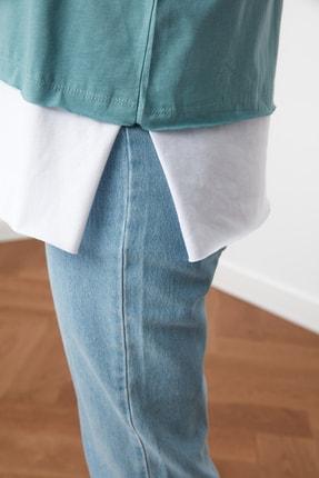 TRENDYOLMİLLA Mint Süprem Parça Detaylı Boyfriend Örme T-Shirt TWOSS20TS0858 2