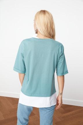 TRENDYOLMİLLA Mint Süprem Parça Detaylı Boyfriend Örme T-Shirt TWOSS20TS0858 3