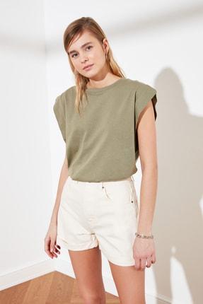 TRENDYOLMİLLA Haki Kolsuz Basic Örme T-Shirt TWOSS20TS0021 1