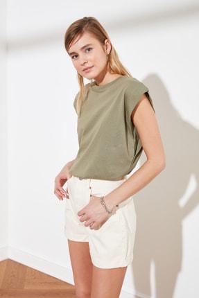 TRENDYOLMİLLA Haki Kolsuz Basic Örme T-Shirt TWOSS20TS0021 2