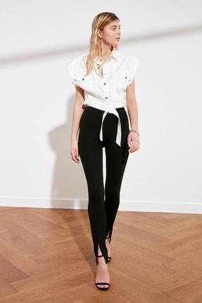 TRENDYOLMİLLA Siyah Yırtmaçlı İnterlok Örme Pantolon TWOAW21PL0263 0