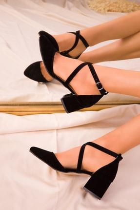 Soho Exclusive Siyah Süet Kadın Klasik Topuklu Ayakkabı 14392 1