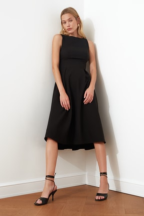 TRENDYOLMİLLA Siyah Pileli Elbise TWOSS20EL0980 3