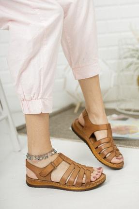 Deripabuc Hakiki Deri Taba Kadın Deri Sandalet Dp05-0246 2