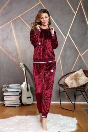 Anıl Kadın Bordo Pijama Kışlık Kadife Kapüşonlu Bluz Pantolon 2'li Takım 9613 1