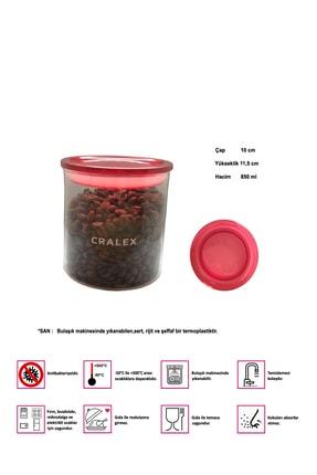 CRALEX Optima 850 ml Kırmızı Kapaklı Borosilikat Cam Kavanoz 1