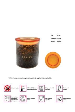 CRALEX Optima 850 ml Turuncu Kapaklı Borosilikat Cam Kavanoz 1