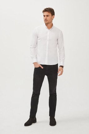 Avva Erkek Beyaz Oxford Düğmeli Yaka Slim Fit Gömlek E002000 3