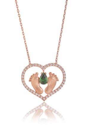 By Barun Silver Kadın Rose 925 Ayar Gümüş  Zümrütlü Ayak İzi Kolye 0