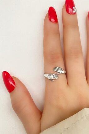 Takıştır Kadın Gümüş El Figürlü Ayarlanabilir Yüzük 1