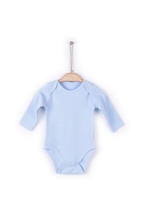 KitiKate Unisex Bebek Mavi Organik Uzun Kol Amerikan Yaka Body 57195 0
