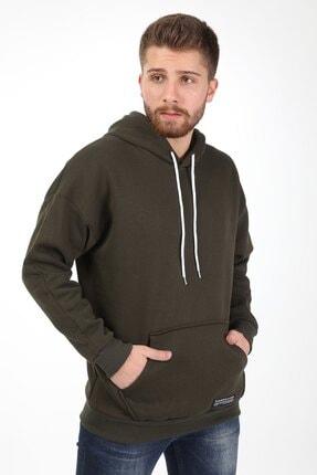 Millionaire Erkek Haki Kapşonlu Oversize Sweatshirt 1