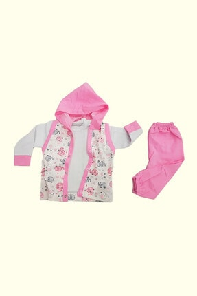 تصویر از %100 Pamuk Kapşonlu Ceketli Puantiyeli Kız 3'lü Bebek Takımı
