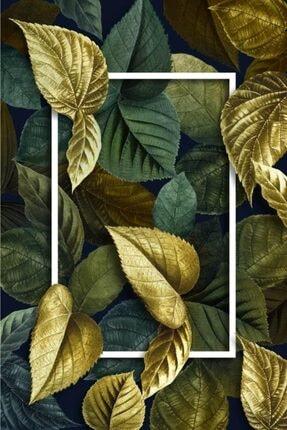 KuleliStore Kaymaz Taban Yıkanabilir Yeşil Gold Yaprak Figürlü Dekotif Halı Kilim Yolluk 3