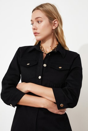 TRENDYOLMİLLA Siyah Düğmeli Elbise TWOSS21EL0748 3