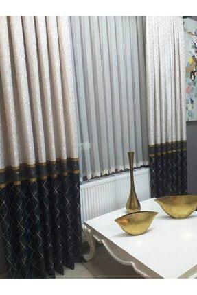 İpeks Haki Yeşil Füme Krem Altın Renk Kombinli Pano Fon Perde 2