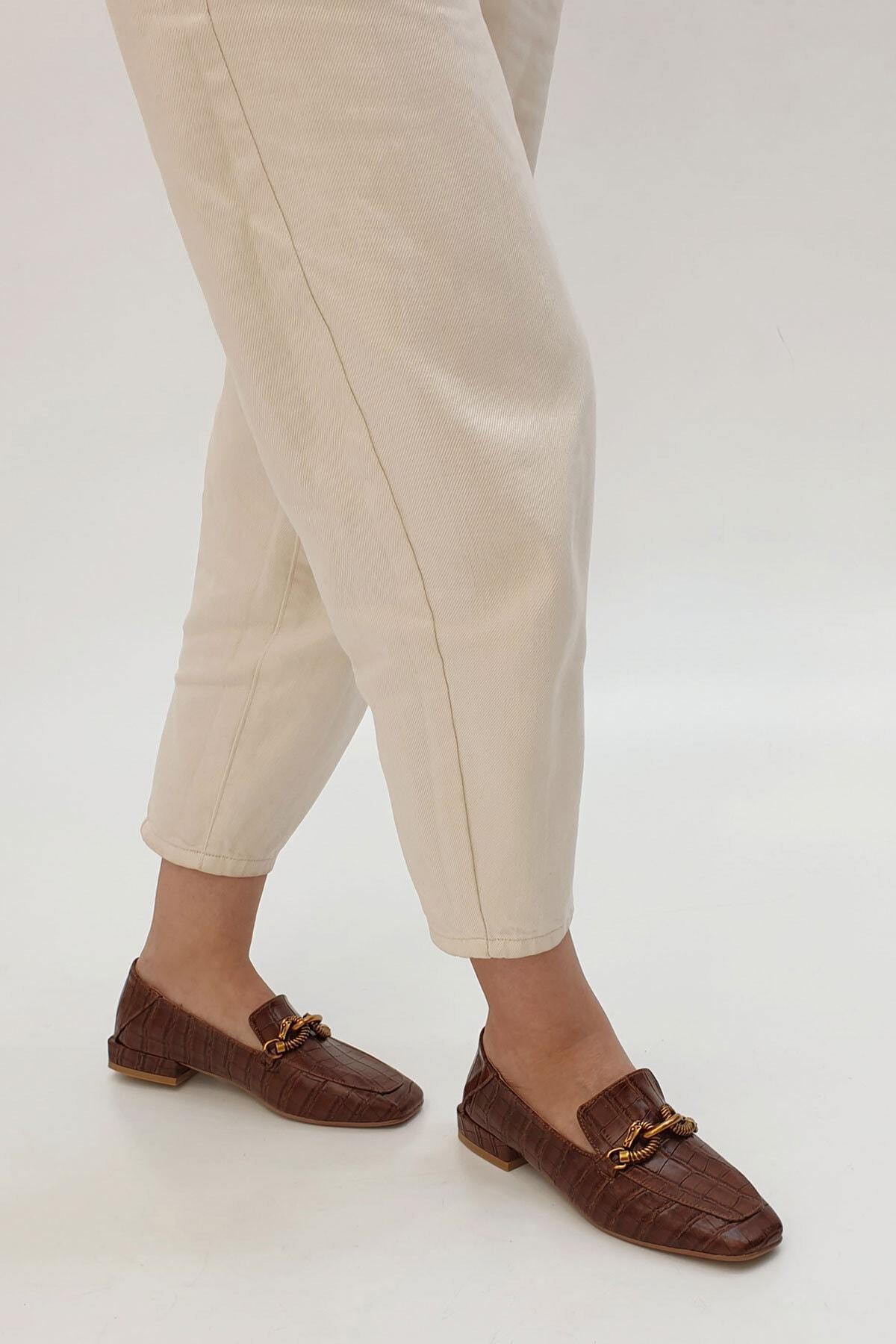 Marjin Kadın Kahve Croco Loafer Ayakkabı Alva 3