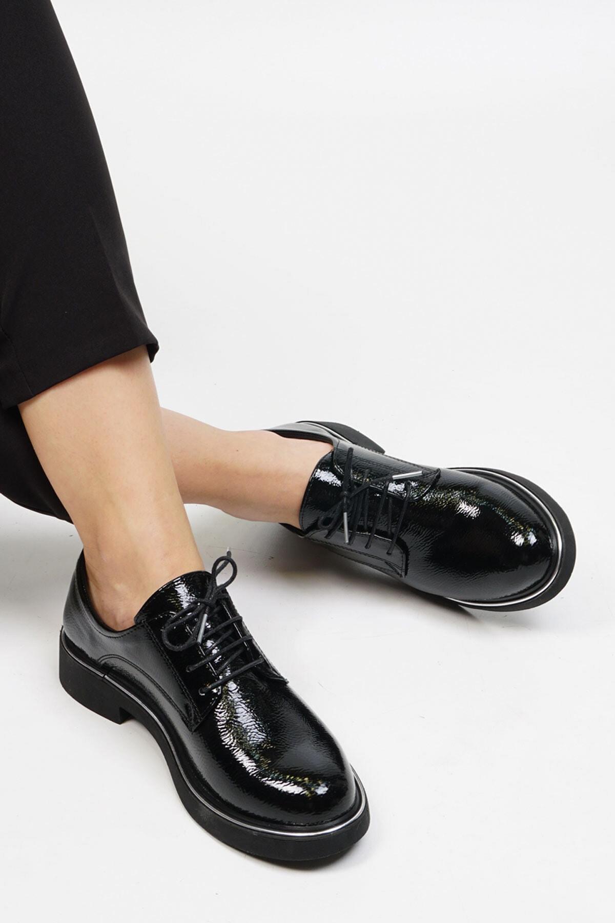 Marjin Kadın Siyah Rugan Oxford Ayakkabı Terva 1