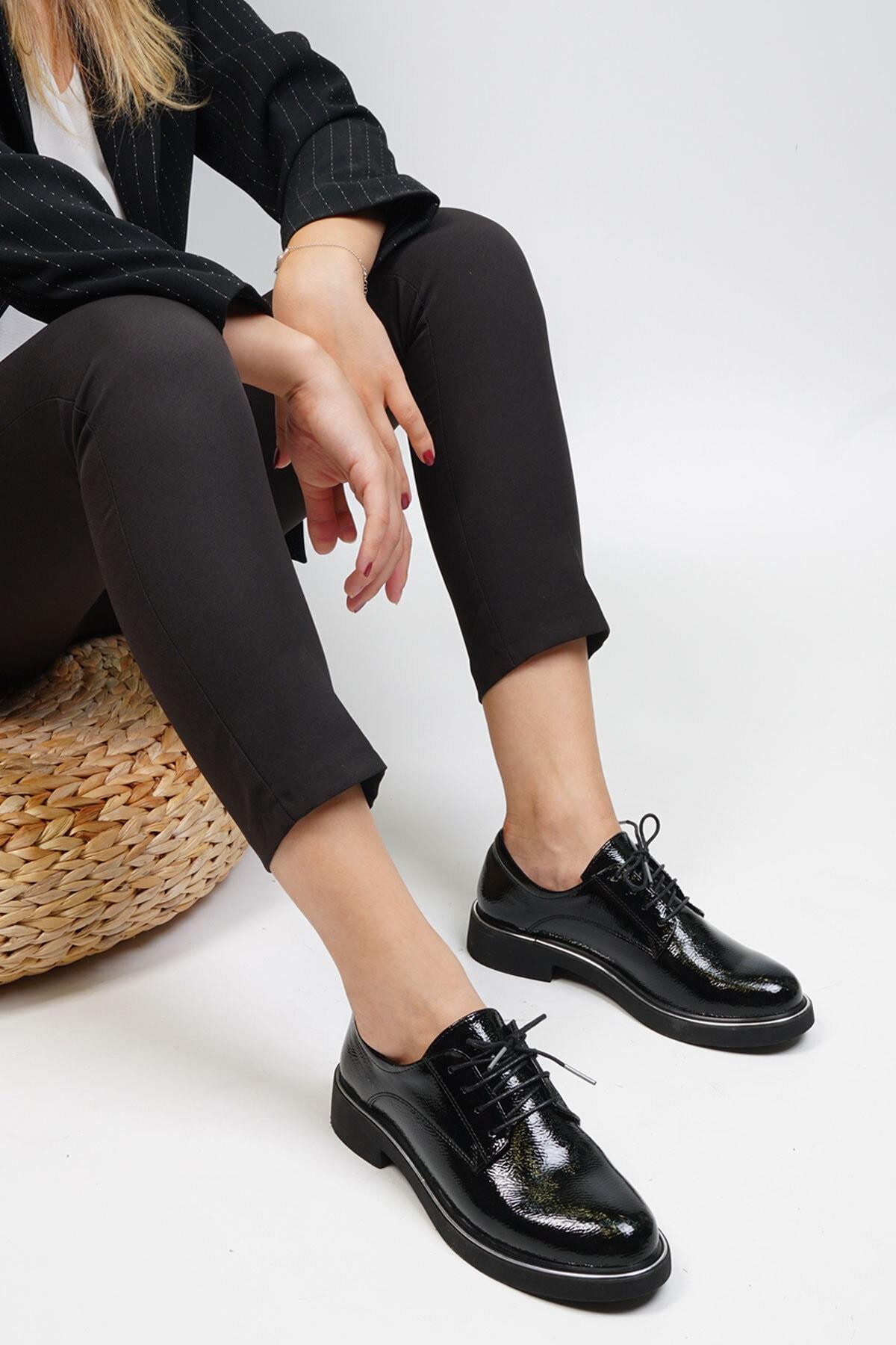 Marjin Kadın Siyah Rugan Oxford Ayakkabı Terva 3