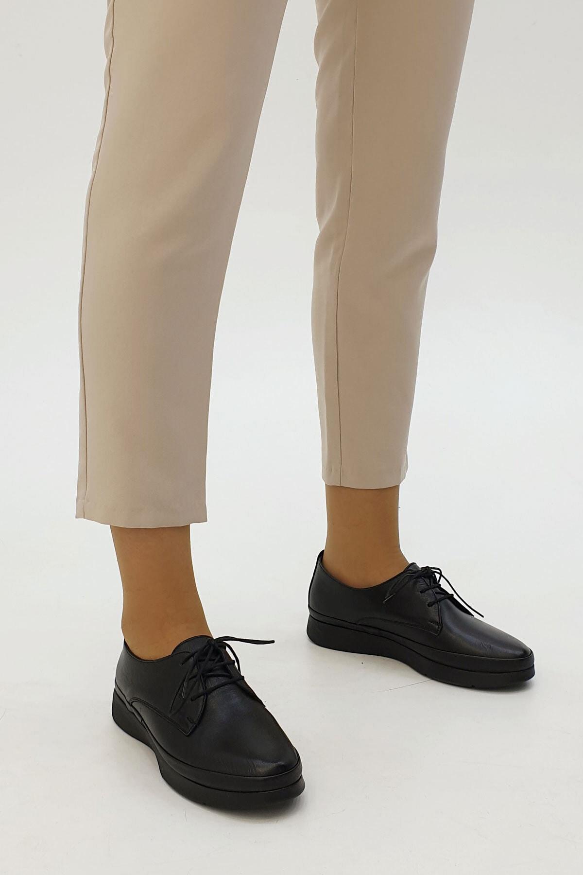 Marjin Porvez Kadın Hakiki Deri Comfort Ayakkabısiyah 2