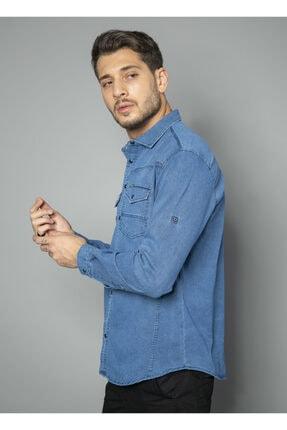 BAYEFENDİ Mavi Cepli Kot Gömlek Slim Fit 1