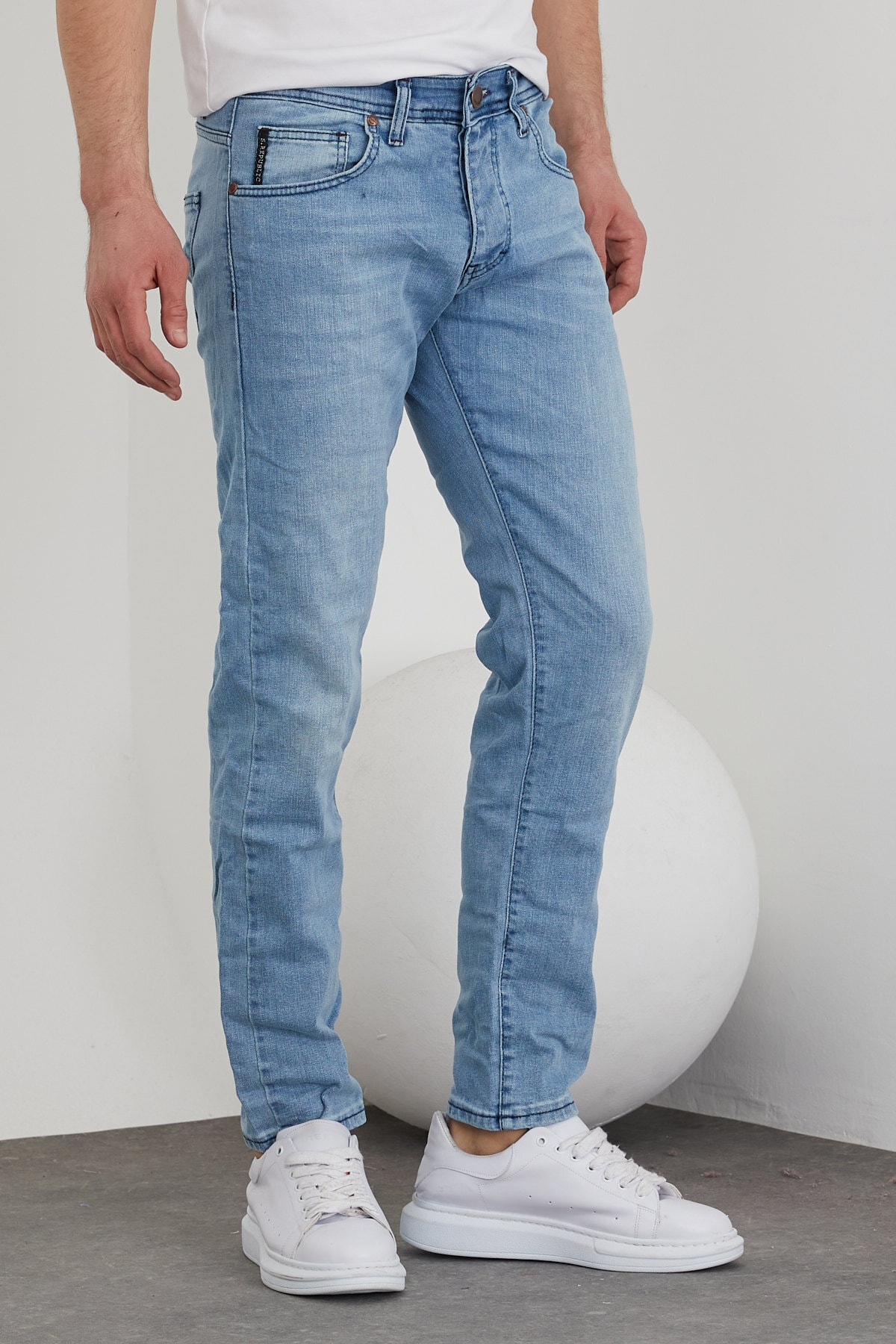 Erkek Açık Mavi Slim Fit Jean Pantolon
