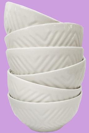 Otogar Çini 6 Adet Seramik Çorba,komposto,çerezlik Kase Kabartma Baklava Desenli Ekru Renk 0