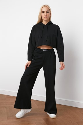 TRENDYOLMİLLA Siyah Nakışlı Wide Leg Örme Pantolon TWOAW21PL0349 0