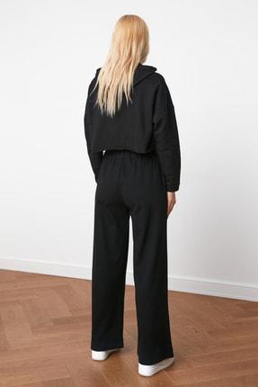 TRENDYOLMİLLA Siyah Nakışlı Wide Leg Örme Pantolon TWOAW21PL0349 4