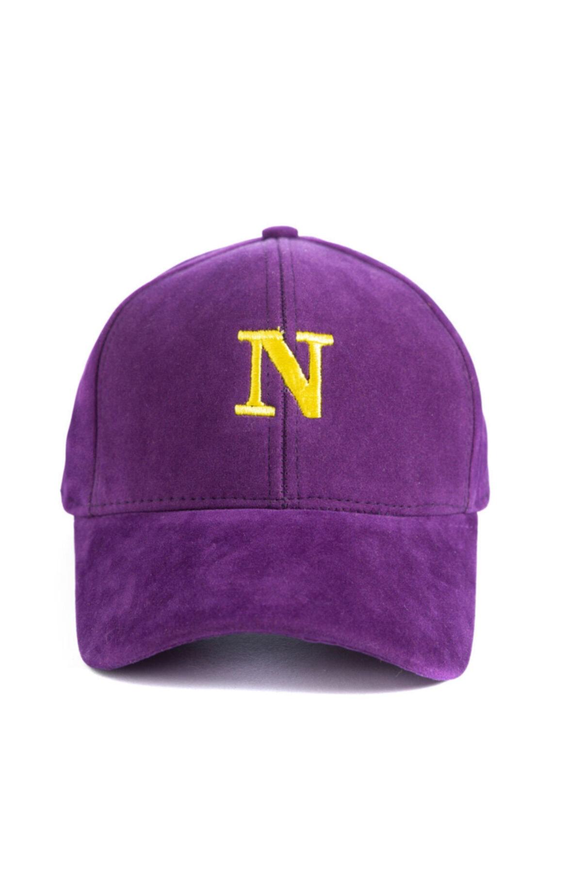 Unisex Mor N Harf İşlemeli Süet Şapka