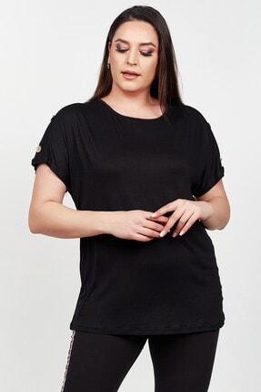 Womenice Kadın Siyah Kolu Düğme Detaylı Büyük Beden Bluz 1