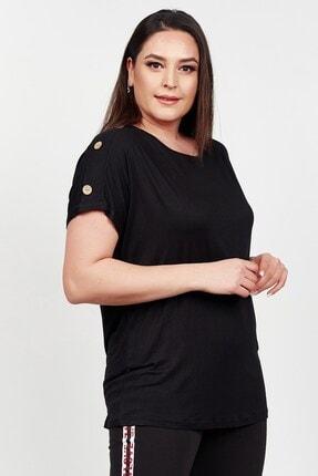 Womenice Kadın Siyah Kolu Düğme Detaylı Büyük Beden Bluz 3