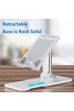 Premium Ticaret Portatif Ayarlanabilir Katlanır Telefon Ve Tablet Masaüstü Standı Tutucu Beyaz 2