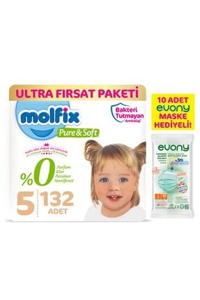 Molfix Pure&soft Bebek Bezi 5 Beden Junior Ultra Fırsat Paketi 132 Adet + Evony Maske 10'lu Hediyeli 0
