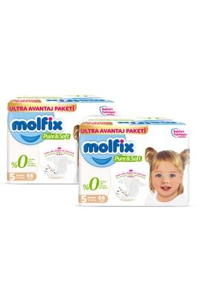 Molfix Pure&soft Bebek Bezi 5 Beden Junior Ultra Fırsat Paketi 132 Adet + Evony Maske 10'lu Hediyeli 1